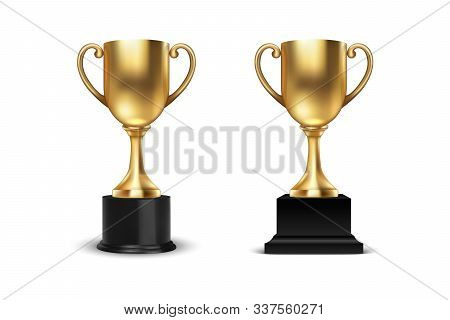 Vector 3d Blank Golden Champion Winner Cup Icon Set Closeup Closeup Isolated On White Background. De