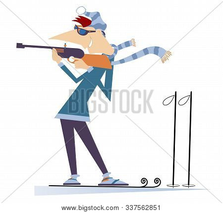 Biathlon Competitor Man Isolated. Shooting In The Stand Position Biathlon Competitor Man Cartoon Ill