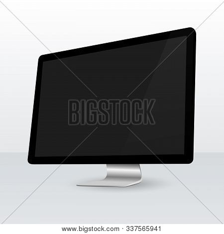 Realistic Pc Monitor Mockup. Isolated Computer Screen. Vector Mockup. Vector Illustration