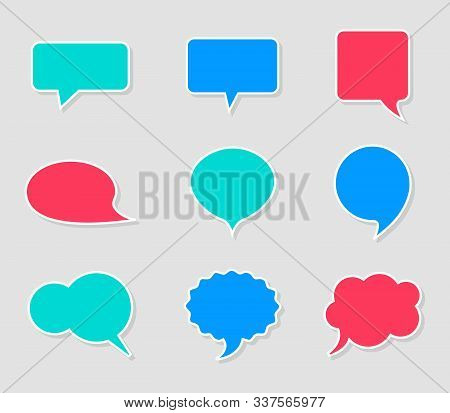 Set Of Empty Bright Speech Bubbles. Different Shapes Stickers With Shadows. Space For Text, Creative