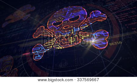 Cyber Crime With Skull Symbol Project Creating. Abstract Concept Of Darknet, Internet Safety, Cyber