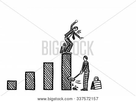 Freehand Drawing Of Business Man Beginning To Chop Down The Tallest Bar Of A Growth Chart, While Man