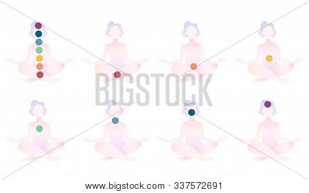 Set Of 8 Abstract Meditated Women In Different Colours 9 Chakras. Female Cartoon Character Sitting I