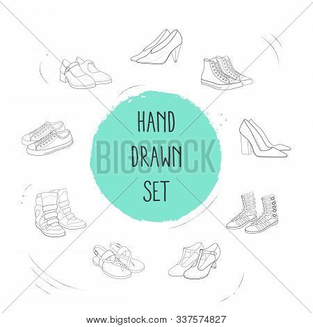 Set Of Shoe Types Icons Line Style Symbols With High Converse Shoes, Gladiator Boots, Chunky Heel An