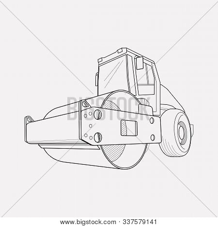 Steamroller Icon Line Element. Vector Illustration Of Steamroller Icon Line Isolated On Clean Backgr