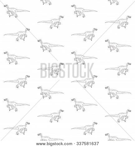 Vector Seamless Pattern Of Hand Drawn Doodle Sketch Velociraptor Dinosaur Isolated On White Backgrou