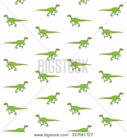 Vector Seamless Pattern Of Green Hand Drawn Doodle Sketch Velociraptor Dinosaur Isolated On White Ba