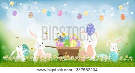 Panorama Landscape Of Spring Field With Bunny Hunting Easter Eggs, Vector Cute Cartoon Rabbits And H