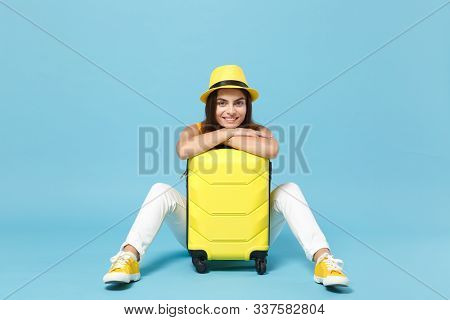 Traveler Tourist Woman In Yellow Casual Clothes, Hat With Suitcase Photo Camera Isolated On Blue Bac