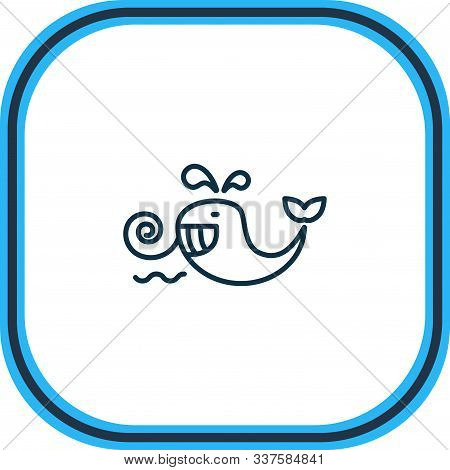 Vector Illustration Of Cetacean Icon Line. Beautiful Naval Element Also Can Be Used As Baleen Whale