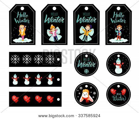 Set Of Christmas Gift Tags With Kids And Fictional Character, Winter Paraphernalia And Warm Wishes.