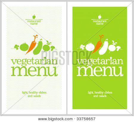 Restaurant Vegetarian Menu Cards Design template.