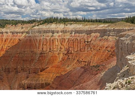 Upper Cliff Details On A Mountain Chasm In Cedar Breaks National Monument In Utah