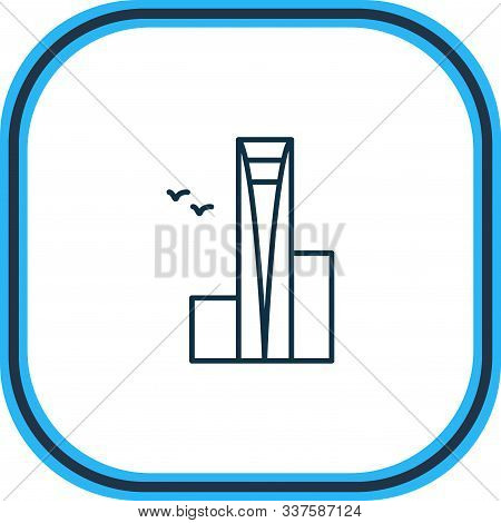 Vector Illustration Of Shanghai World Center Icon Line. Beautiful History Element Also Can Be Used A
