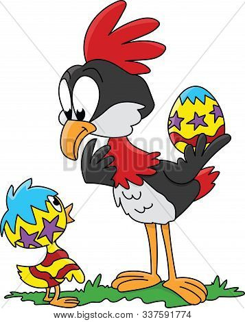 Cartoon Bird Looking At Her Newly Hatched Chick Vector Illustration