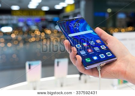 Belgrade, Serbia - December 03, 2019: New Huawei Mate 30 Pro Smartphone Is Shown With Apps On The Sc