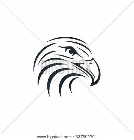 Eagle Head On White Background. Striped Eagle Head Icon.