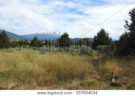 Mount Shasta Seen From A Distance, Siskiyou County, Northern California.