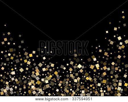 Glowing Gold Square Confetti Sparkles Flying On Black. Luxurious New Year Vector Sequins Background.