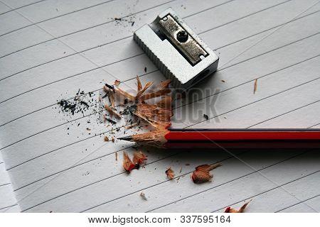 Pencil And Sharpener. Sharpening Pencil. School Pencil And Sharpener.