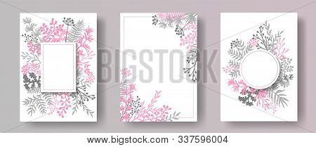 Wild Herb Twigs, Tree Branches, Leaves Floral Invitation Cards Templates. Herbal Corners Romantic Ca