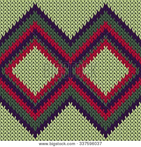 Handicraft Rhombus Argyle Knitted Texture Geometric Seamless Pattern. Blanket Knitting Pattern Imita