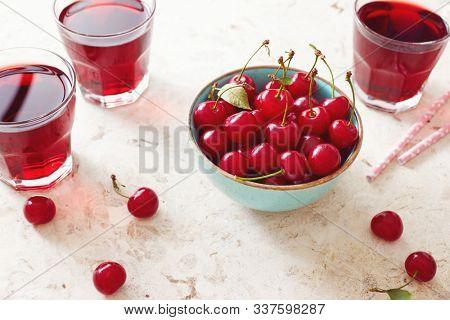 Bowl of fresh organic sour cherry