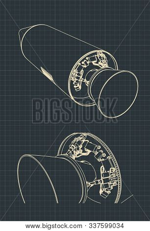 Stylized Vector Illustration Of Drawings Of A Spaceship