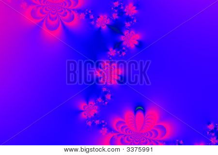 Blue Background With Flower Fractal