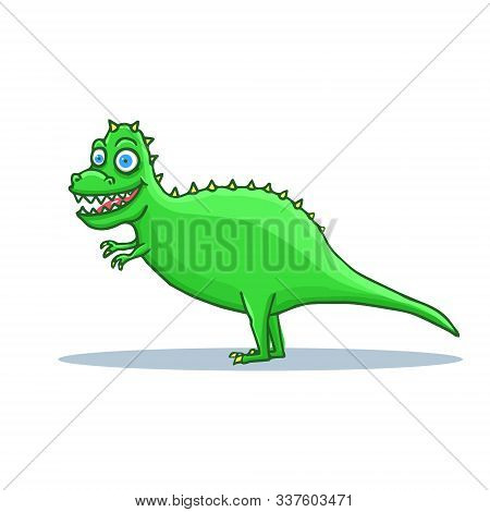 Hand Drawn Cartoon Dinosaur Tyrannosaurus Rex. T-rex Cartoon. Vector