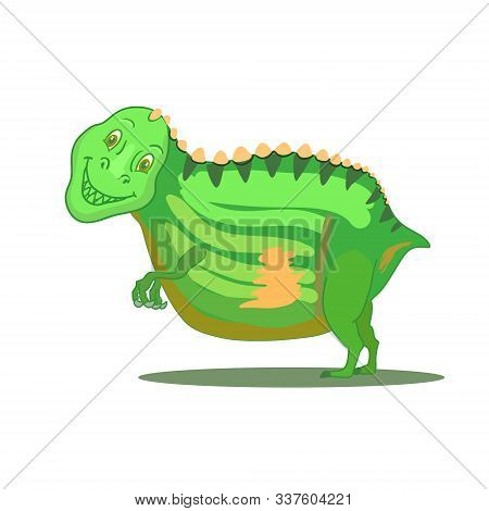 Hand Drawn Cartoon Dinosaur Tyrannosaurus Rex. T-rex Smile. Vector