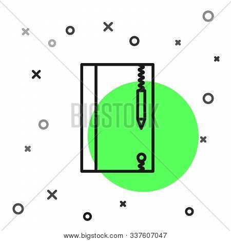 Black Line Underwater Note Book And Pencil For Snorkeling Icon Isolated On White Background. Water W