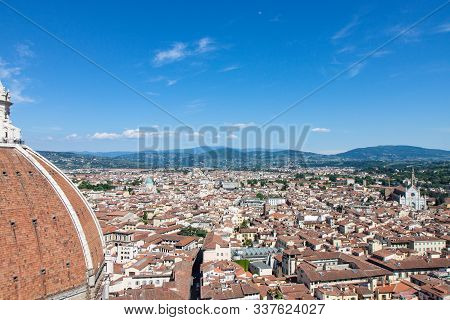 Side of Dome of the Duomo di Firenze and Surrounding City of Florence poster