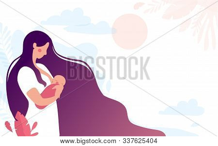 A Cute Young Mother Breastfeeds A Newborn Baby On A Natural Background. The Woman Presses The Baby T