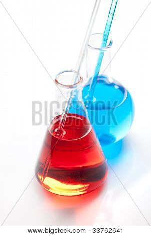 ?hemical flask with a blue laboratory test tubes inside, isolated