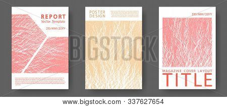 Booklet Design Vector Layouts Set. Sand And Coral Colors Waves Textures. Buzzing Flux Ripple Movemen