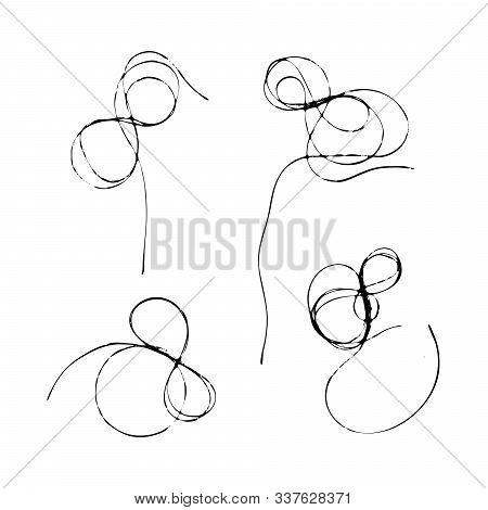 Set Of Tangled Threads. Infinity Sign, Thread Eight. Black Line Abstract Sketch. Chaotic Doodle Shap