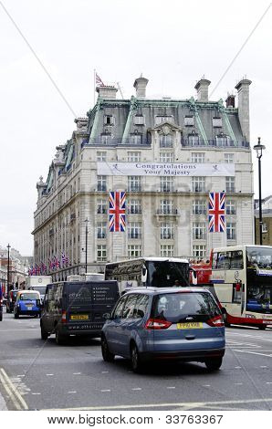 LONDON, UK, JUNE 1: The Ritz Hotel is decorated with Union Jack flags to celebrate the Queen's Diamond Jubilee on June 1, 2012 in London. The main celebrations will be held  from June 2 to June 5.