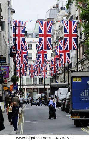 LONDON, UK, JUNE 1: Jermyn Street is decorated with Union Jack flags to celebrate the Queen's Diamond Jubilee on June 1, 2012 in London. The main celebrations will be held  from June 2 to June 5.