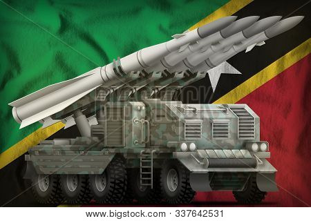 Tactical Short Range Ballistic Missile With Arctic Camouflage On The Saint Kitts And Nevis Flag Back