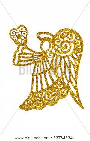 Angel silhouette holding a heart made of golden glitter, isolated on white