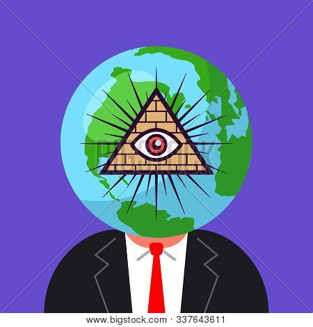 World Government Of Freemasons. Man With A Planet On His Head. Flat Vector Illustration
