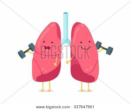 Cute Cartoon Funny Lungs Character With Dumbbells. Strong Smiling Lung. Human Respiratory System Hap