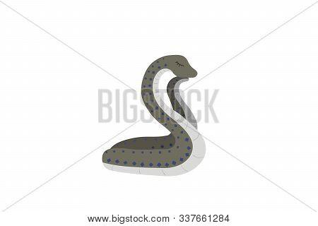 Sleeping Snake On A White Background. Sweet Dreans. Vector Illustration.