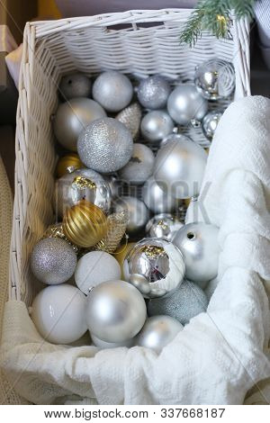 Silver Gold Christmas Tree Toy Balls In The Box Close Up Photo