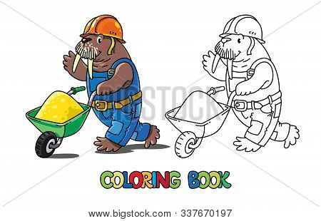 Walrus Worker Abc Coloring Book. Alphabet W