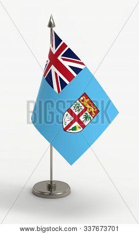 Fiji Table Flag On A White Background. Fiji Flag; 3d Render.