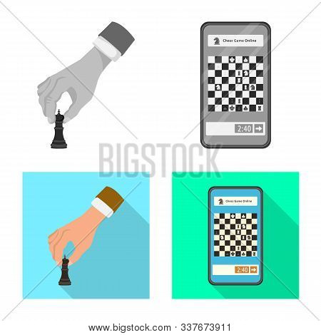 Vector Illustration Of Checkmate And Thin Logo. Set Of Checkmate And Target Vector Icon For Stock.