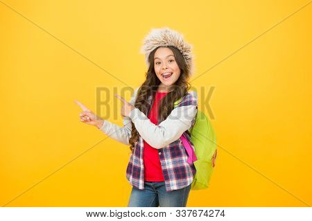 Apply To Graduate At Winter Convocation. Winter Events At School. Kid Girl Wear Hat With Ear Flaps.