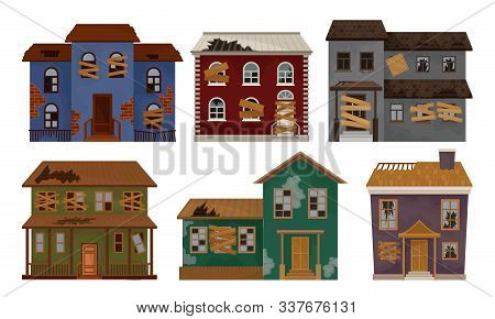Abandoned Houses Collection, Old Facades Of One Storey And Two Storey Buildings Vector Illustration